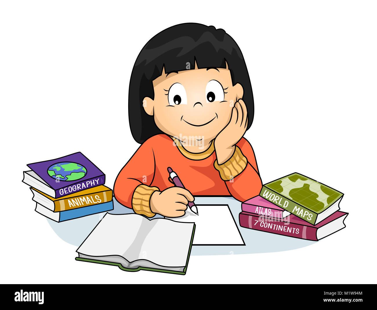 foto de Illustration d'un enfant fille fait ses devoirs et l'apprentissage de la Géographie Photo Stock