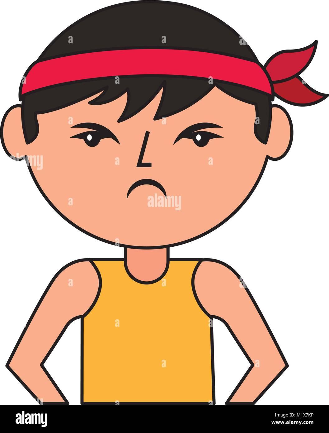 Caricature Homme portrait caricature homme colère chinoise avec head vecteurs et