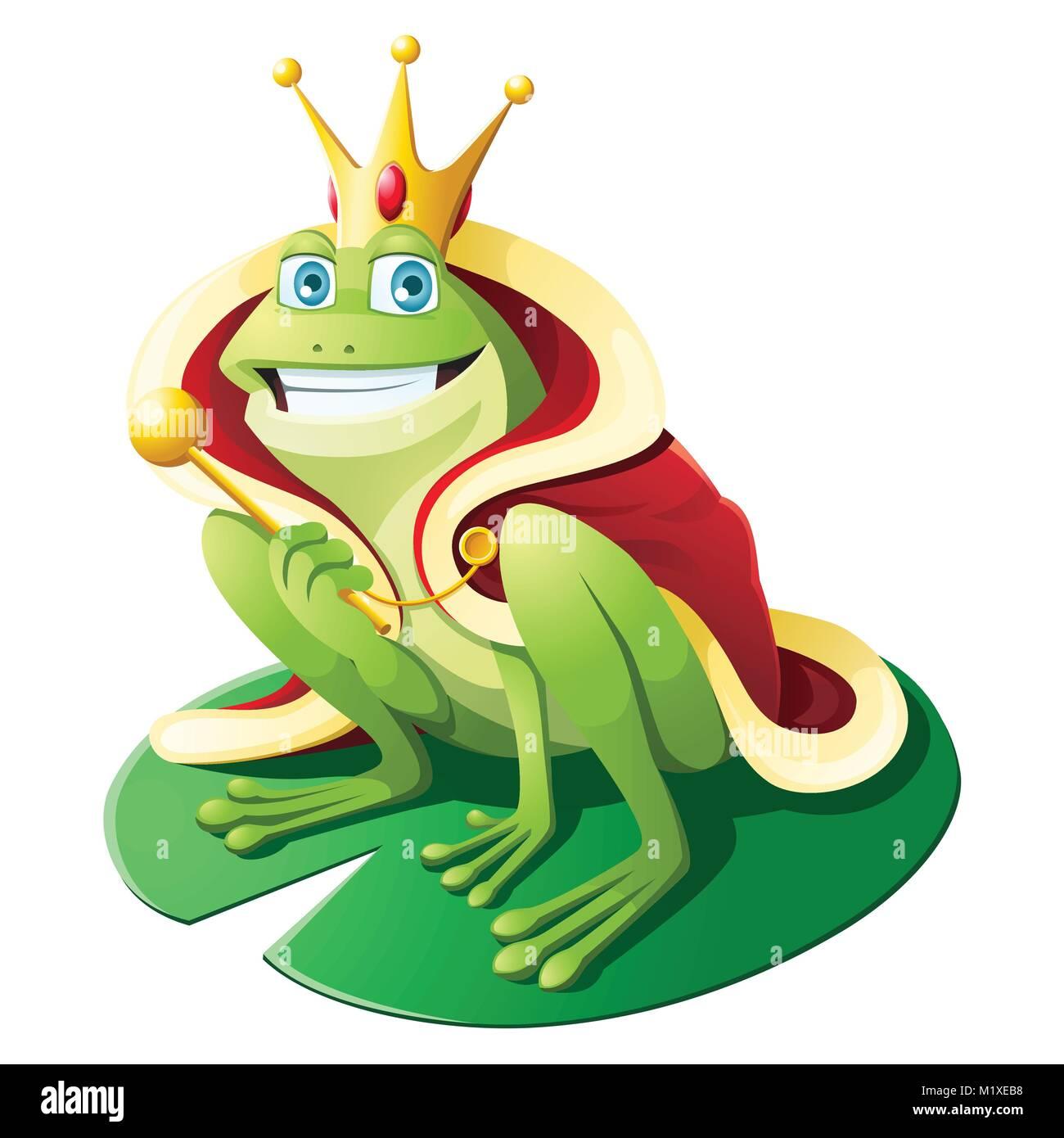 Grenouille Couronne le port de la couronne d'or grenouille et king's cloack holding