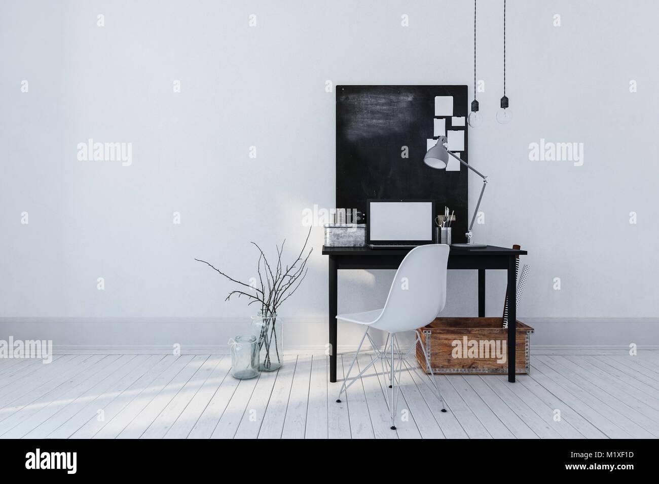 Bureau moderne minimaliste de lintérieur ou de létude avec une