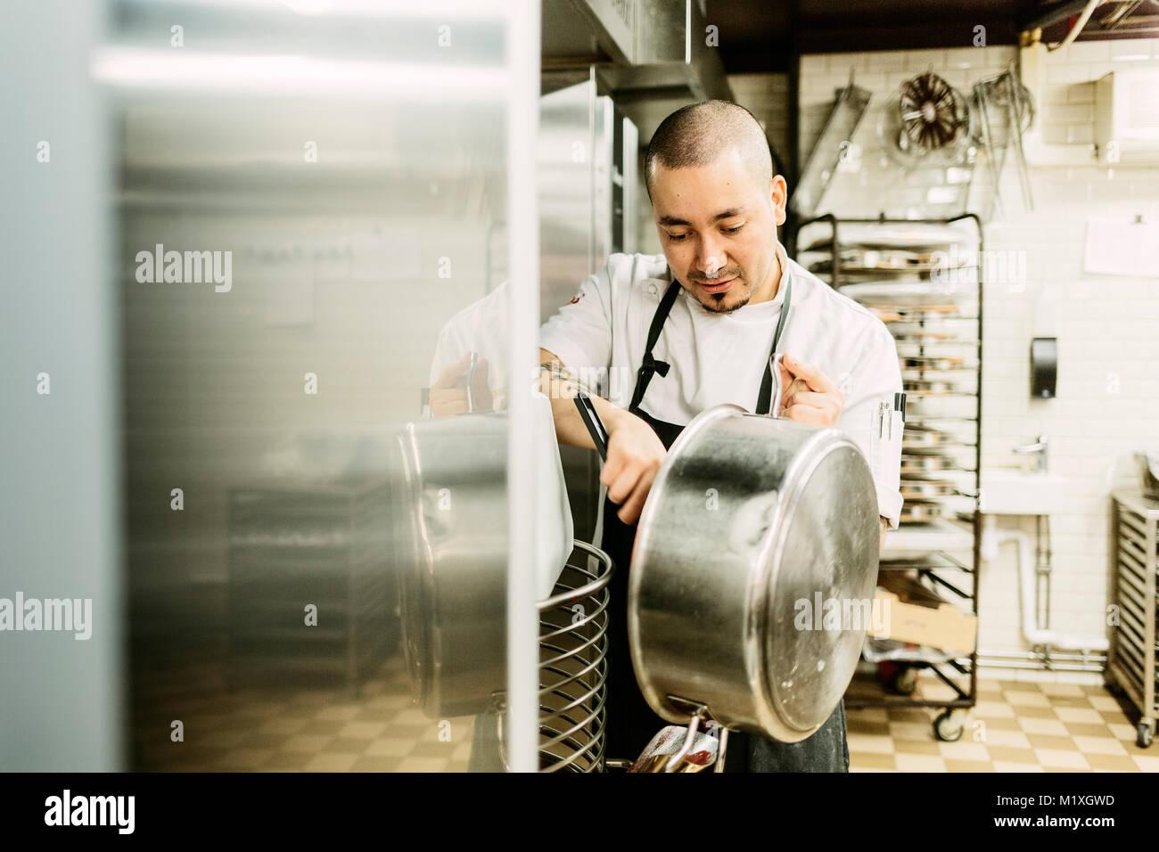 Chef à bakery en Suède Photo Stock