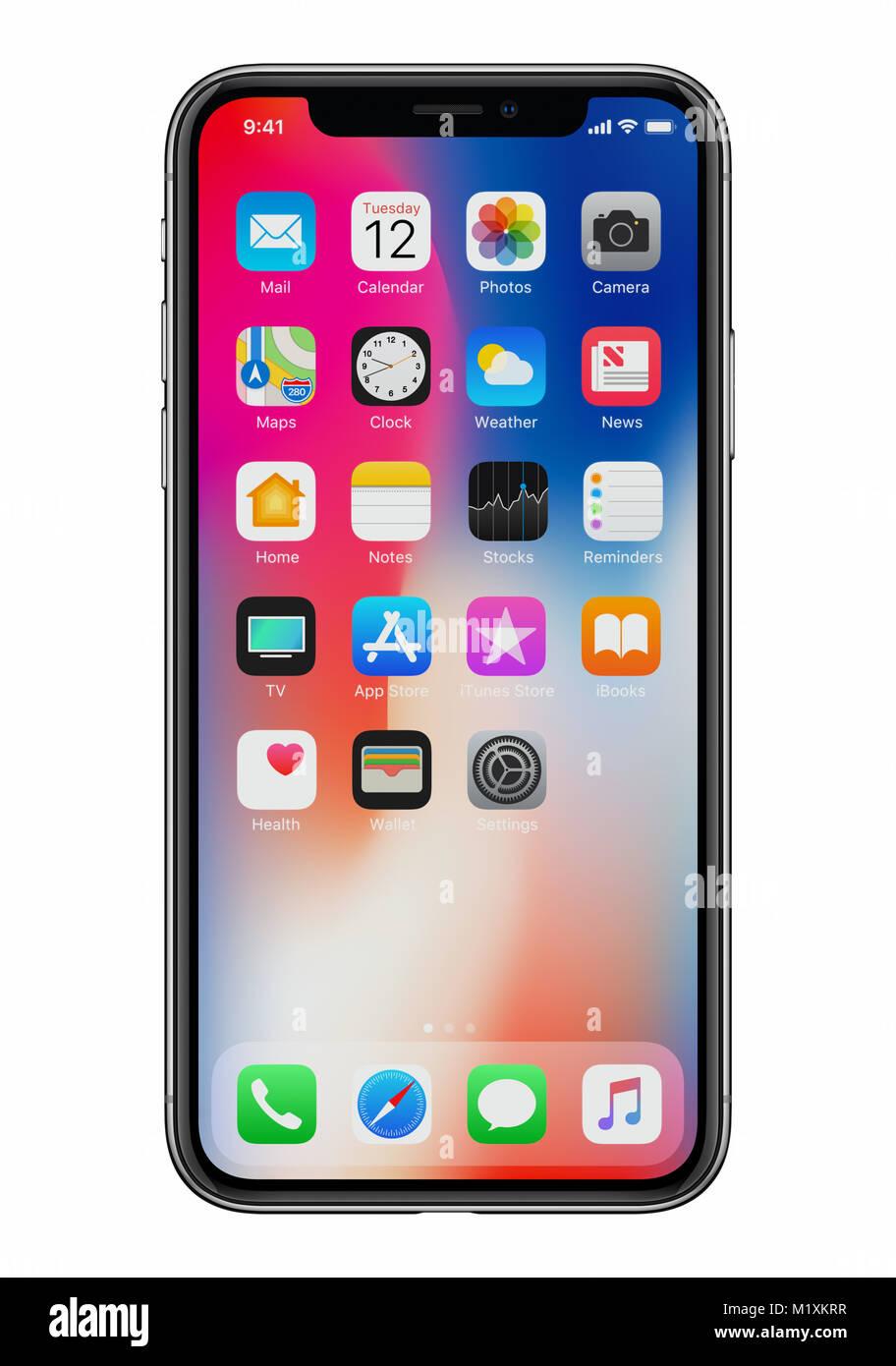 Nouveau Apple Iphone X 10 Vue De Face Sur Fond Blanc Nouvelles