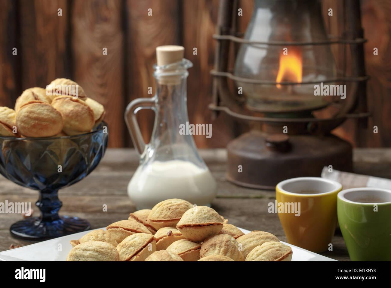Les Ecrous En Forme De Cookies Faits Maison Avec De La Creme De Lait