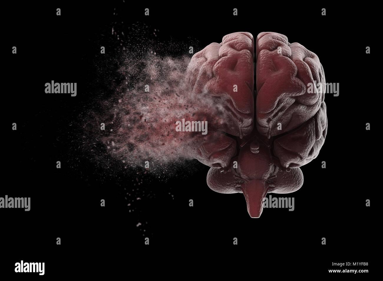 Cerveau humain multiplient sur fond noir. 3D illustration Photo Stock
