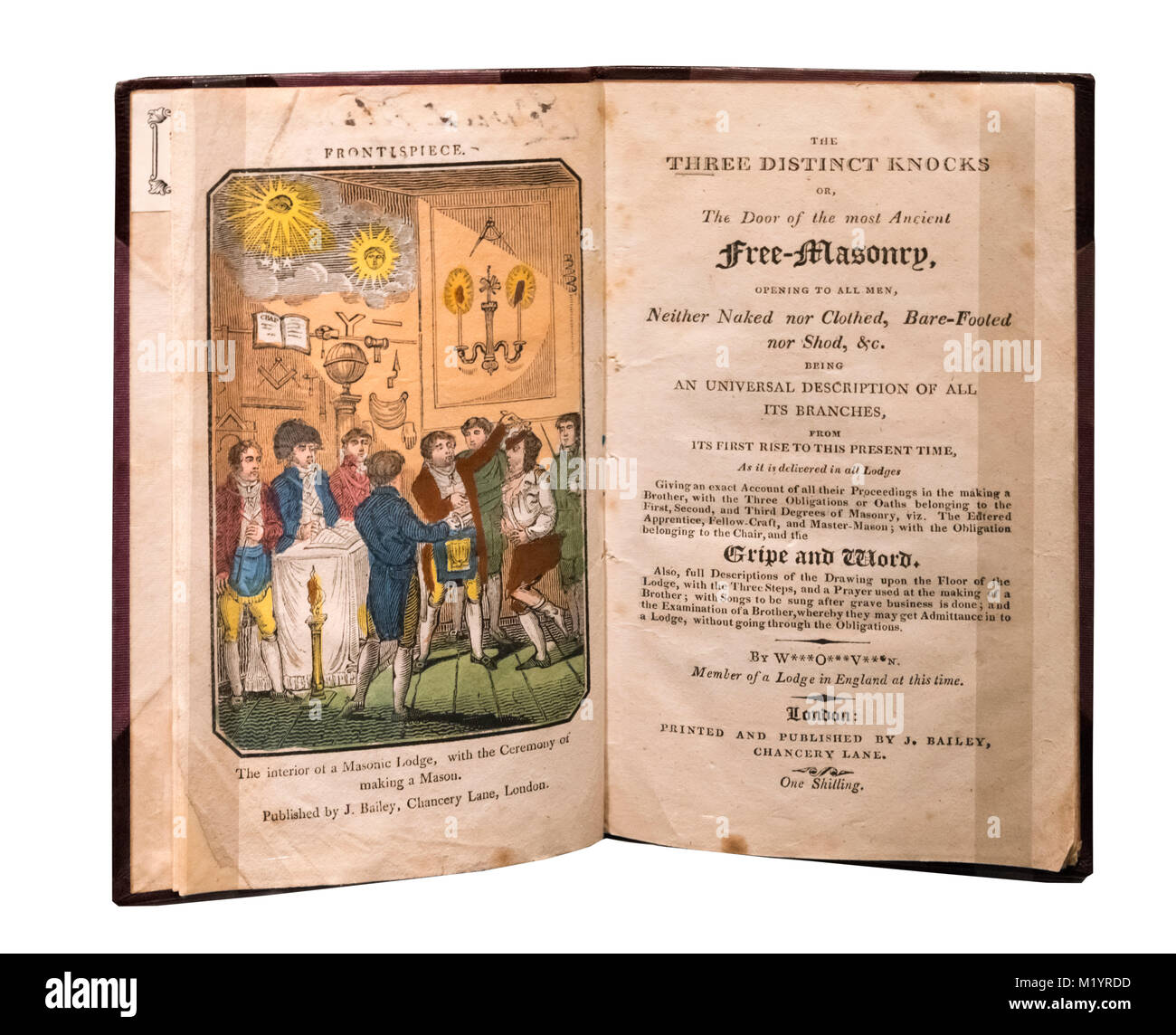 Les trois coups distincts au début du 19e siècle, un livre sur les rituels de la Franc-maçonnerie Photo Stock