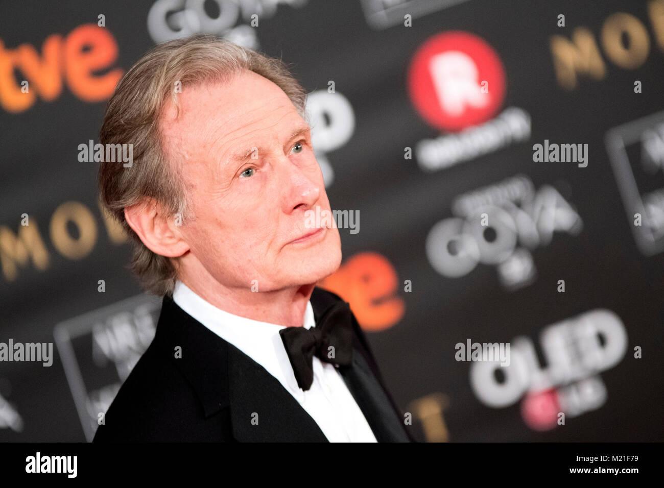 Madrid, Espagne. 3e l'acteur britannique Bill Nighy et nomine pour acteur secondaire, février 2018. Pendant le tapis rouge de l'espagnol Film Awards 'Goya' le 3 février 2018 à Madrid, Espagne. ©david Gato/Alamy Live News Banque D'Images