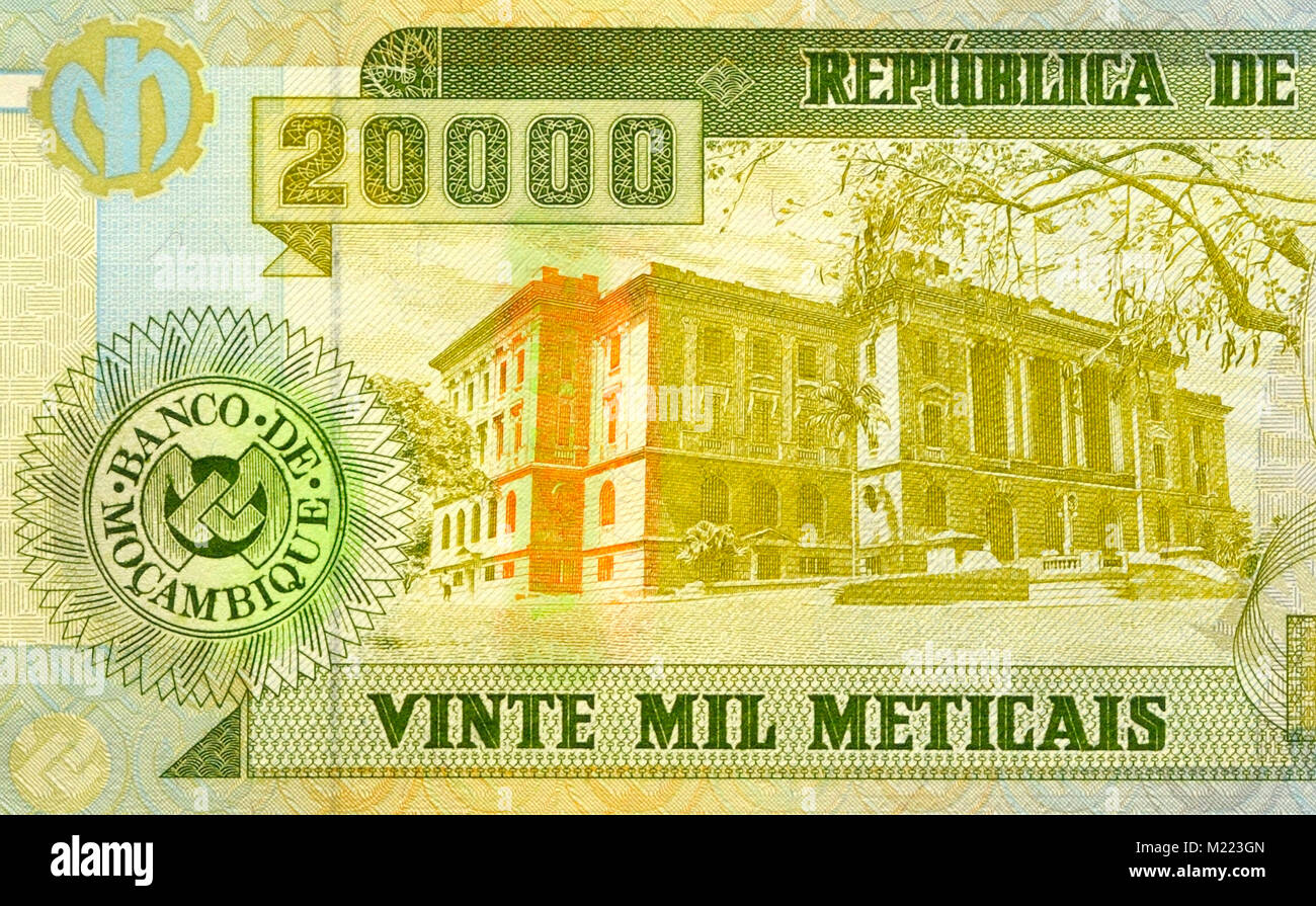 Mozambique 20 000 20 000 Meticals Bank Notes Photo Stock