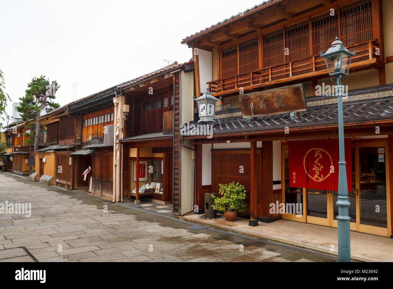 Nishi Chaya rues du district, un district de style traditionnel japonais avec des maisons en bois dans la région de Kanazawa, Japon Banque D'Images