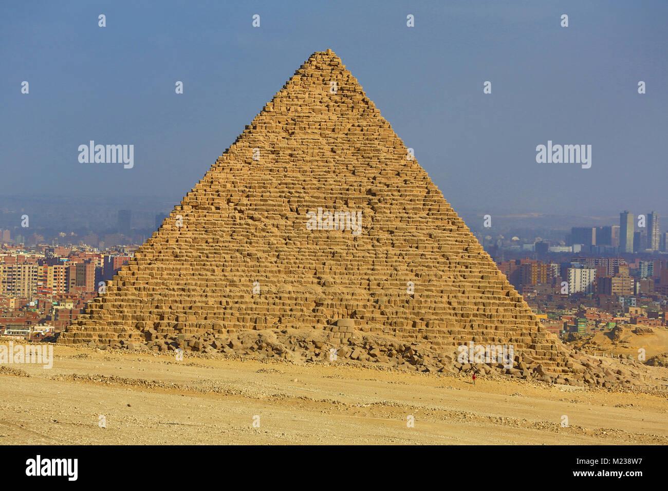 La pyramide de Gizeh sur Menkaourê Plateau, Le Caire, Égypte Photo Stock