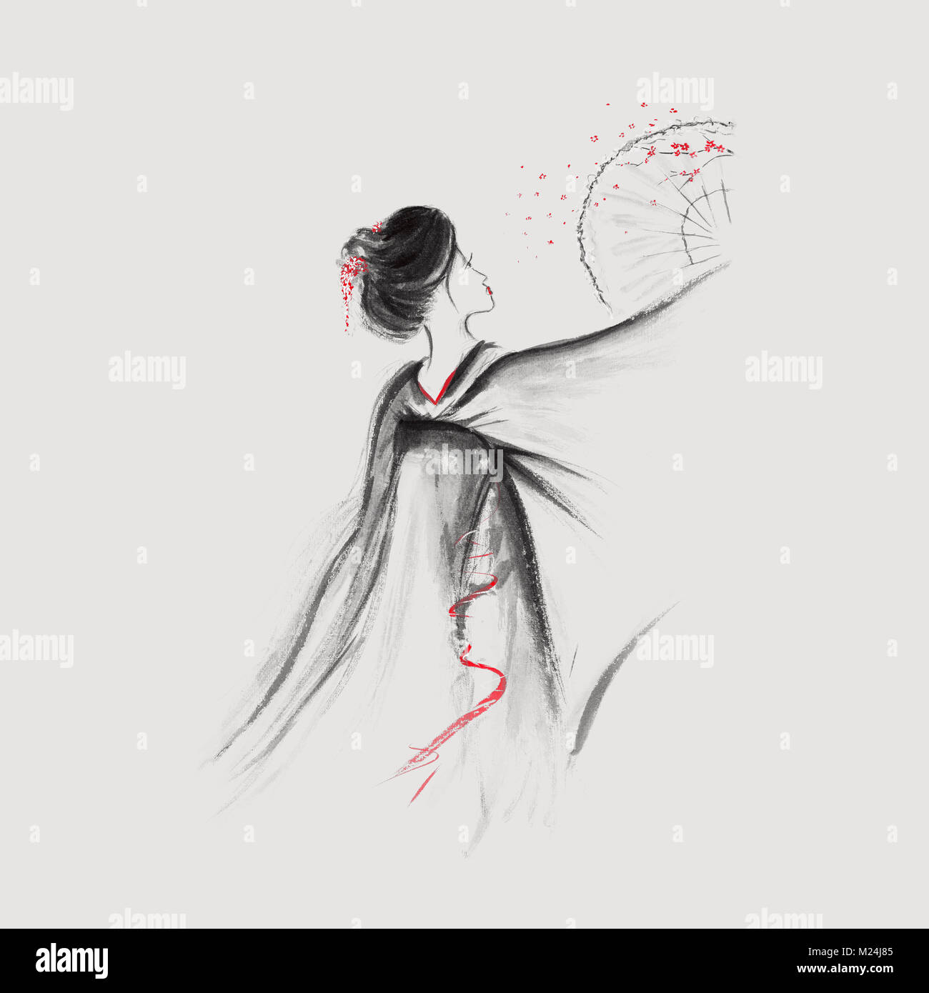 Geisha Exquis Danse Avec Un Ventilateur Fleur Sakura Illustration