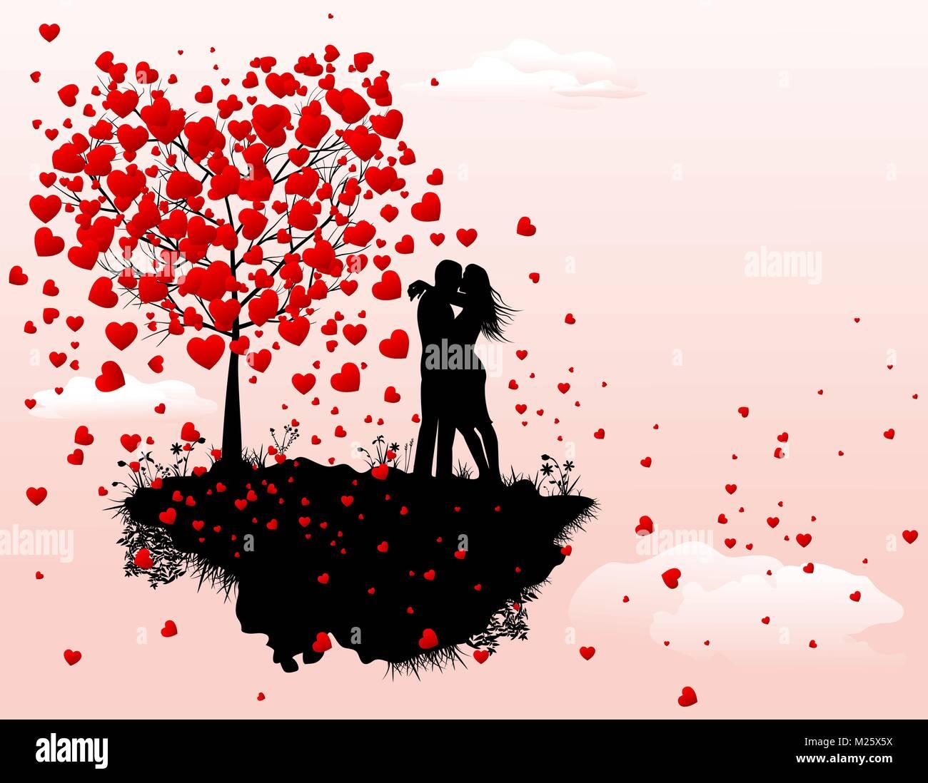 Image Avec Des Coeur couple in love à côté d'un arbre avec le coeur. silhouette d'un