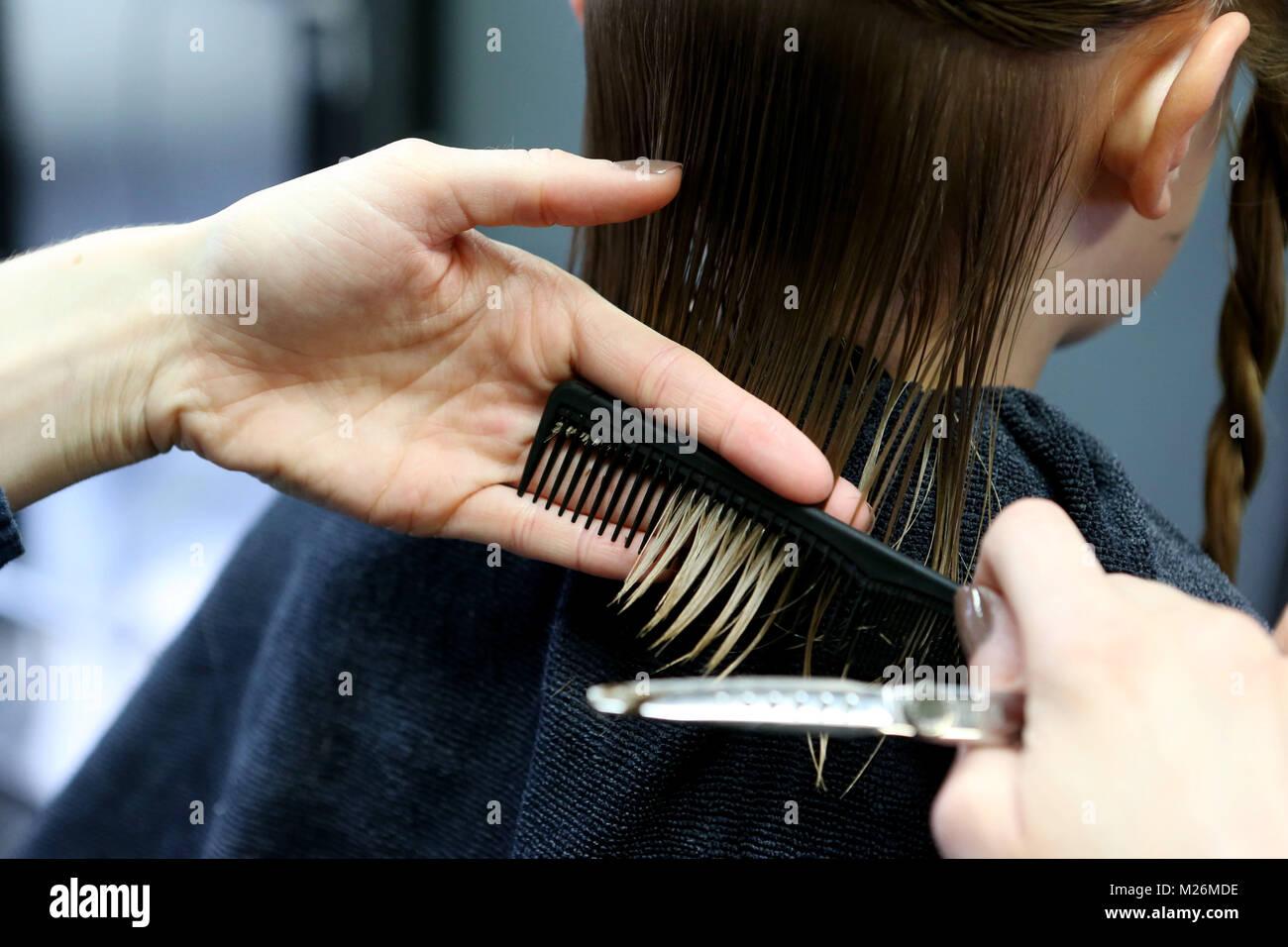 Le Mans Ouest France 2014 12 03 Jeune Femme Un Apprenti Une Coupe De Cheveux De La Femme Photo Stock Alamy