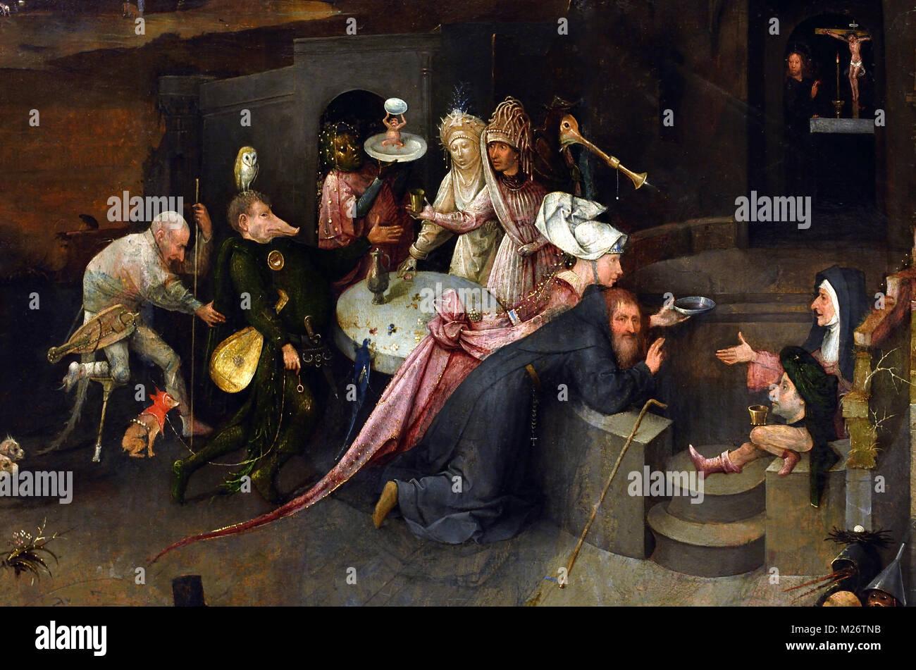 La Tentation de Saint Antoine de Jérôme Bosch (ca 1450-1516).16e siècle aux Pays-Bas, le néerlandais, Photo Stock