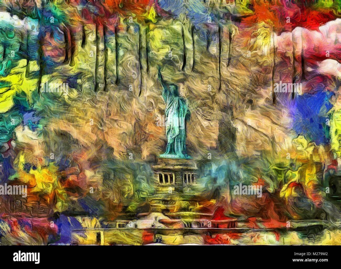 La peinture moderne. Statue de la liberté Photo Stock - Alamy
