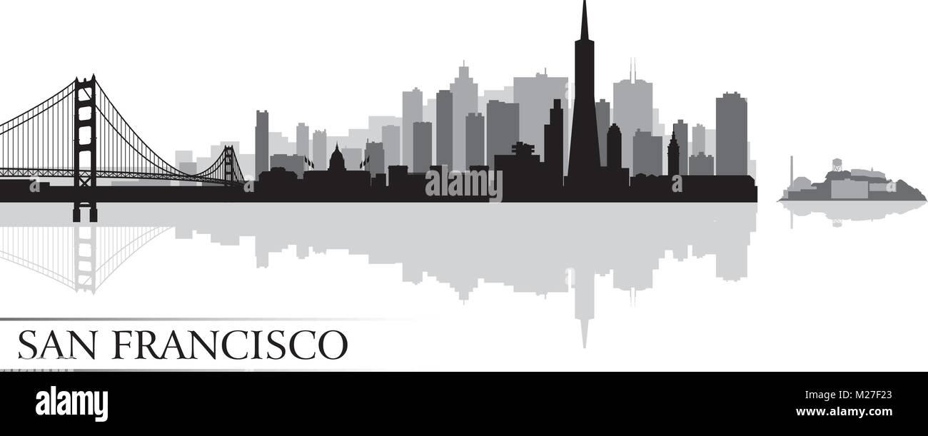 San Francisco city skyline silhouette arrière-plan. Vector illustration Photo Stock