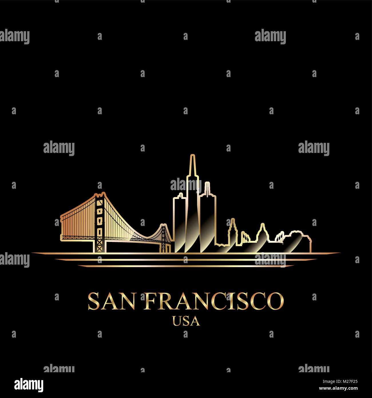 Silhouette d'or de San Francisco sur fond noir, vector illustration Photo Stock