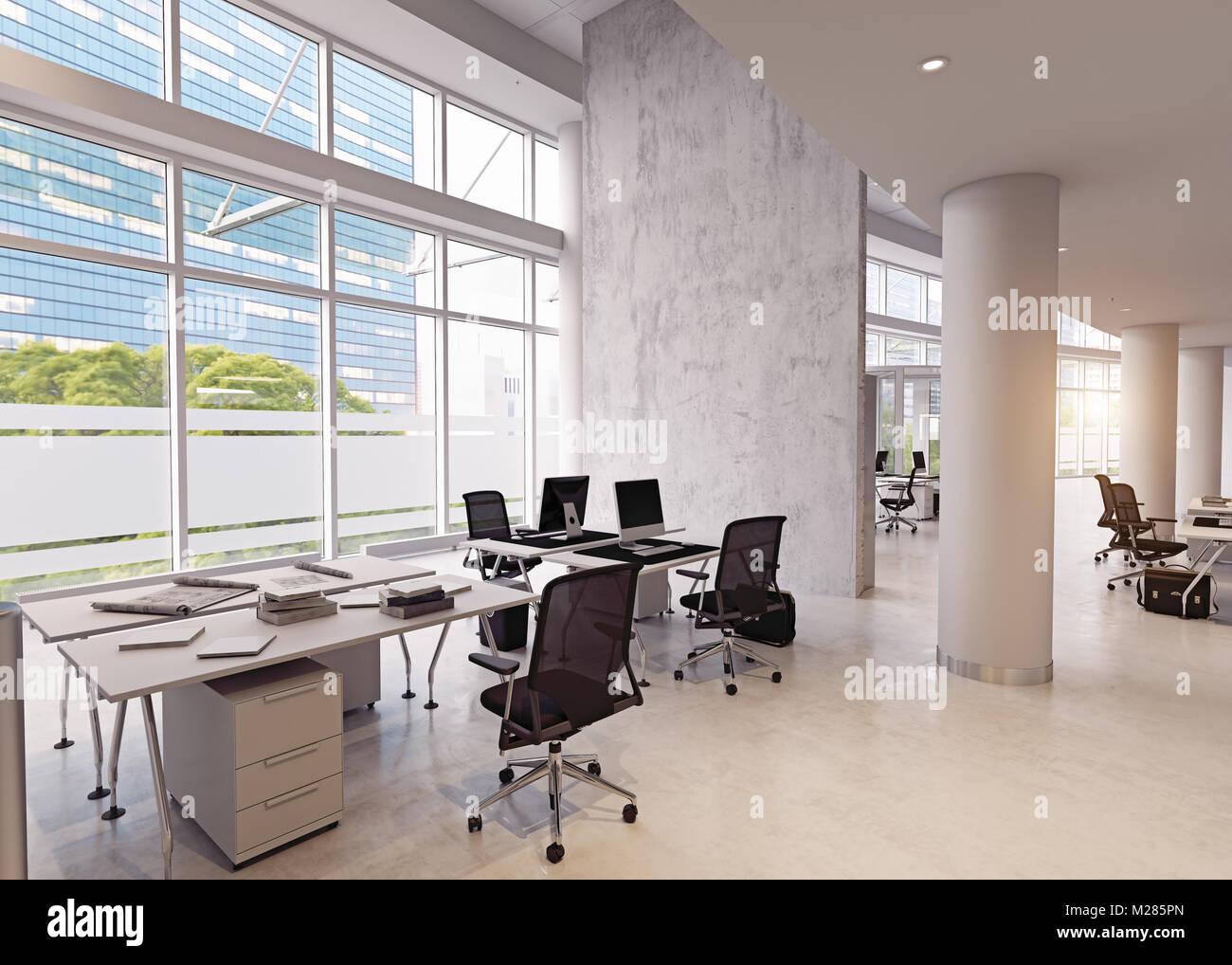 Immeuble de bureaux modernes de lintérieur. concept de rendu 3d
