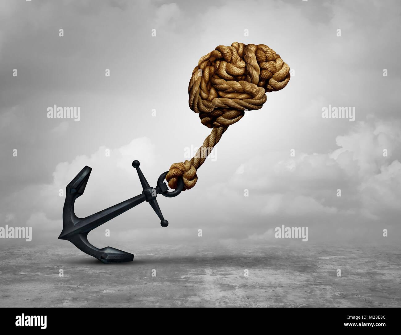 La décision puissant et de pouvoir penser comme un cerveau humain fait de cordes tirant une ancre avec 3D illustration. Photo Stock