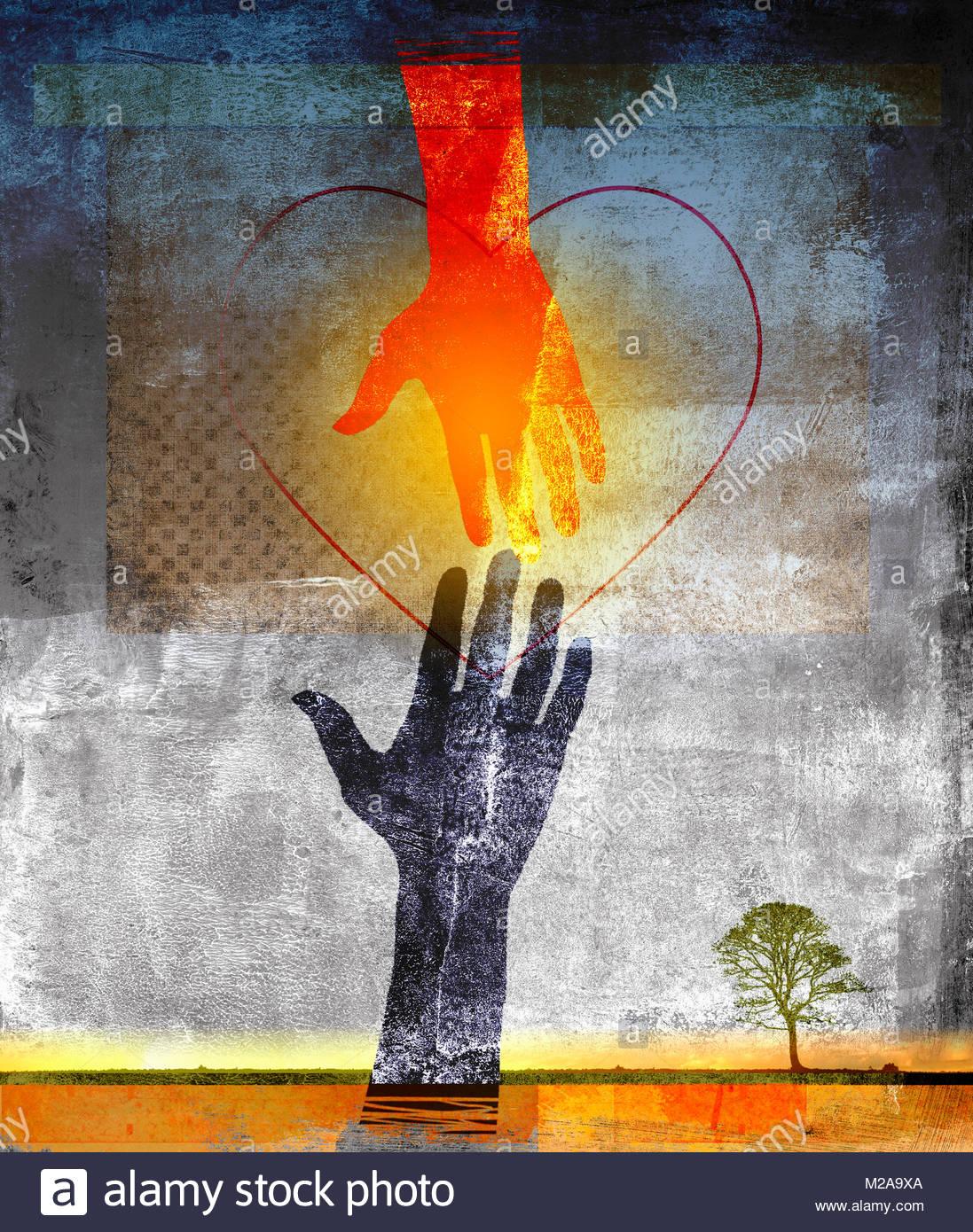 Forme de coeur plus de mains tendues pour toucher Photo Stock