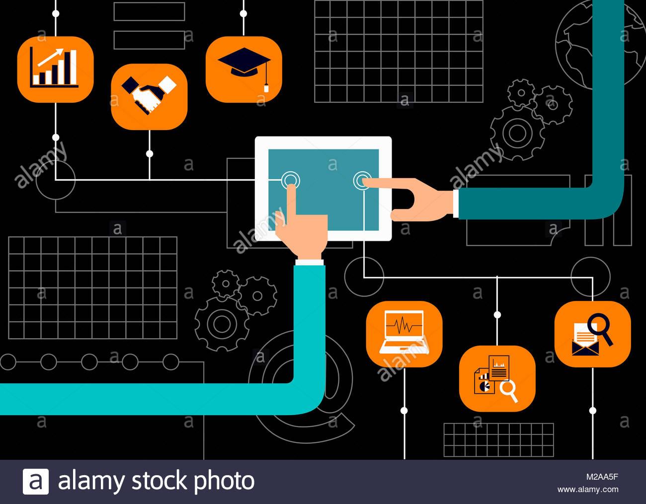 Mains à l'aide de tablette numérique pour l'entreprise et de l'éducation Photo Stock