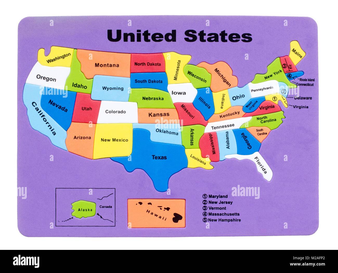 La carte des USA en caoutchouc Banque D'Images