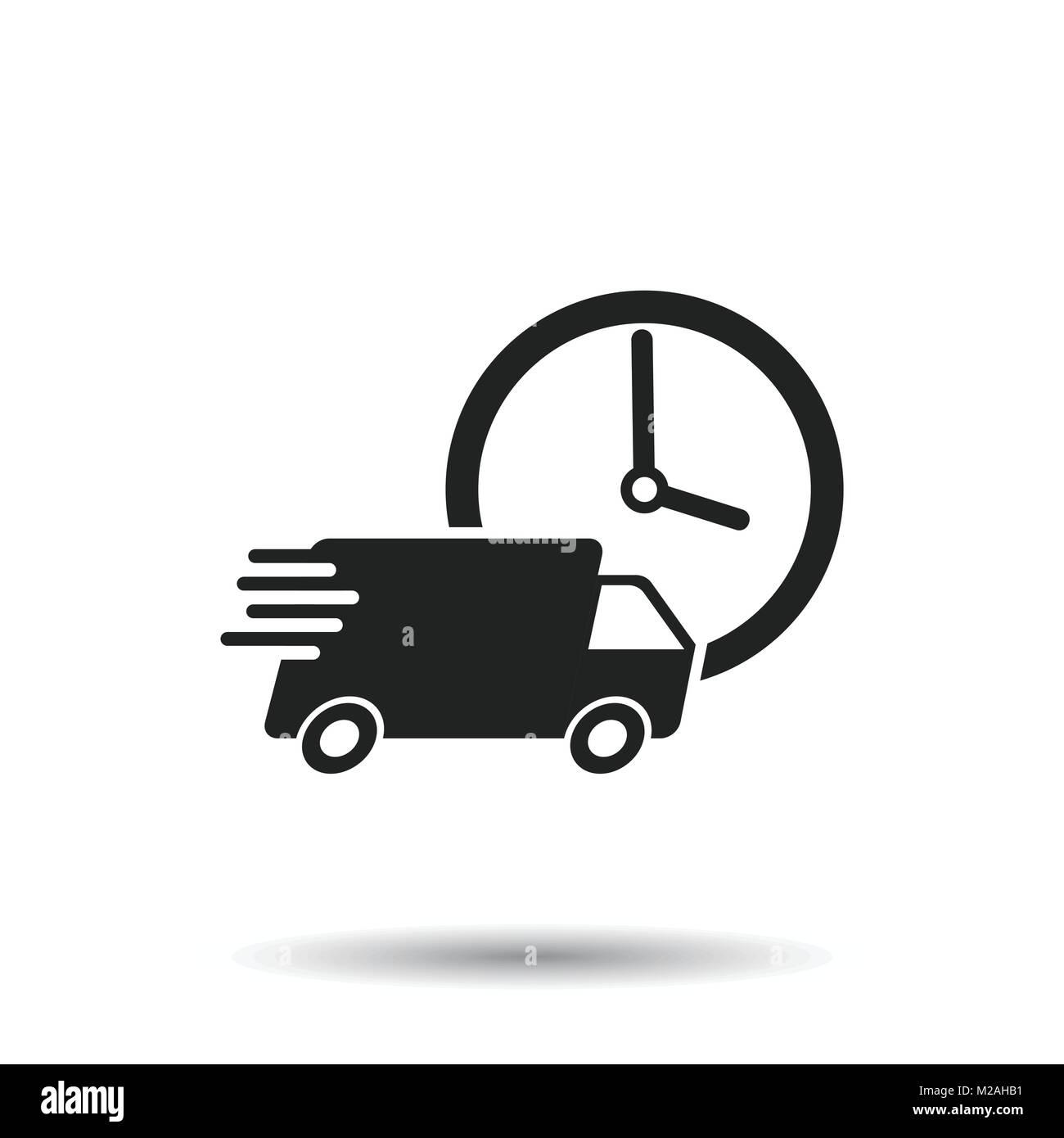 24h livraison avec camion illustration vecteur d 39 horloge. Black Bedroom Furniture Sets. Home Design Ideas