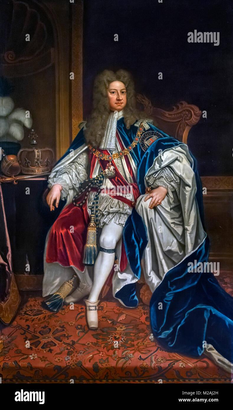 George I. Portrait du Roi George I de Grande-Bretagne (1660-1727) par le studio de Godfrey Kneller, huile sur toile, Photo Stock