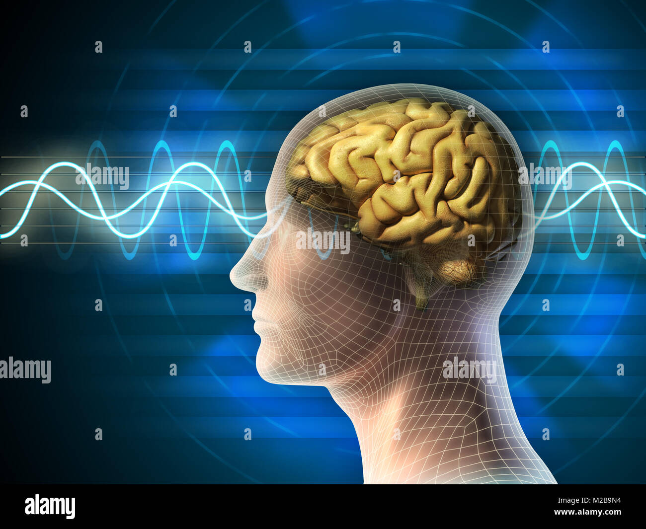 Tête humaine et du cerveau. Différents types de signaux produits par l'activité du cerveau est indiqué sur l'arrière Banque D'Images