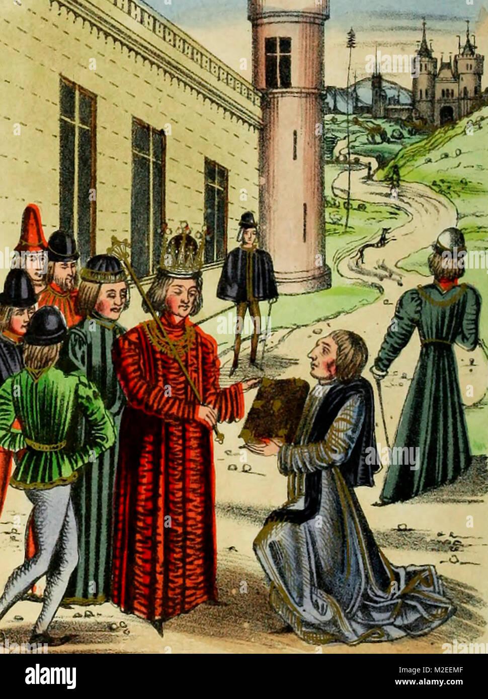 Sir John Froissart présente son livre de poèmes d'amour de Richard la deuxième Banque D'Images
