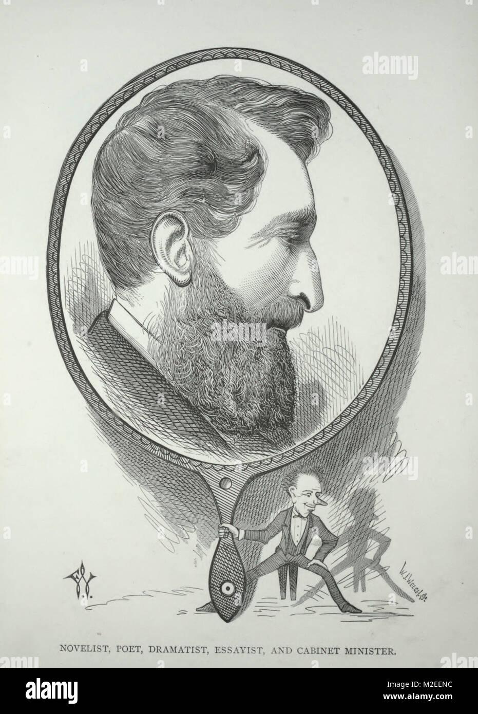 Caricature de Lord Lytton - romancier, poète, dramaturge, essayiste, et ministre du Cabinet Banque D'Images