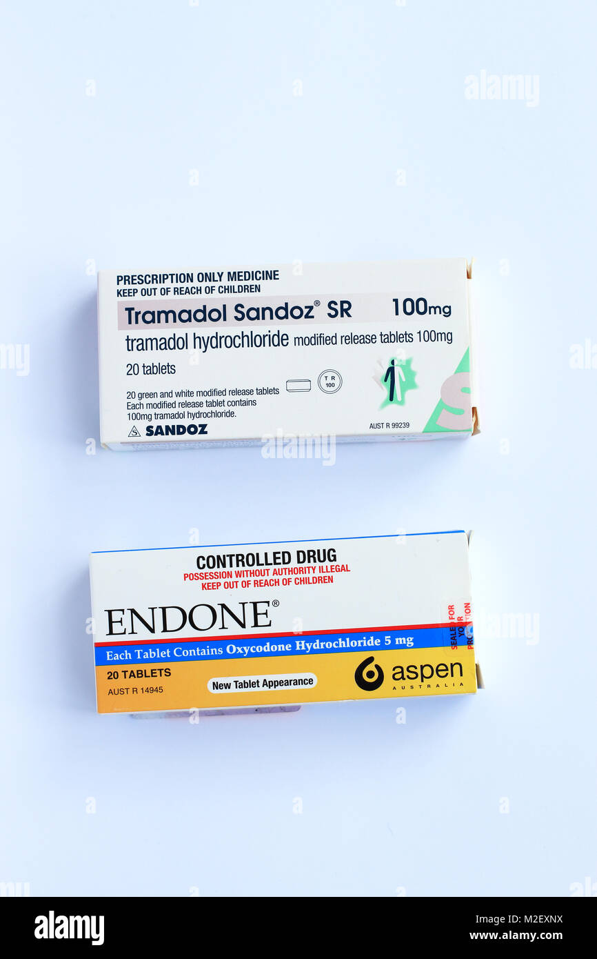 Endone painkiller prescription et le Tramadol Sandoz - strong pain killer Photo Stock