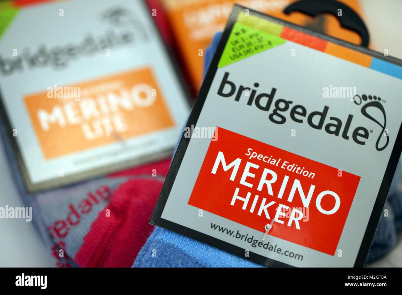 Bridgedale chaussettes en laine de mérinos Banque D'Images