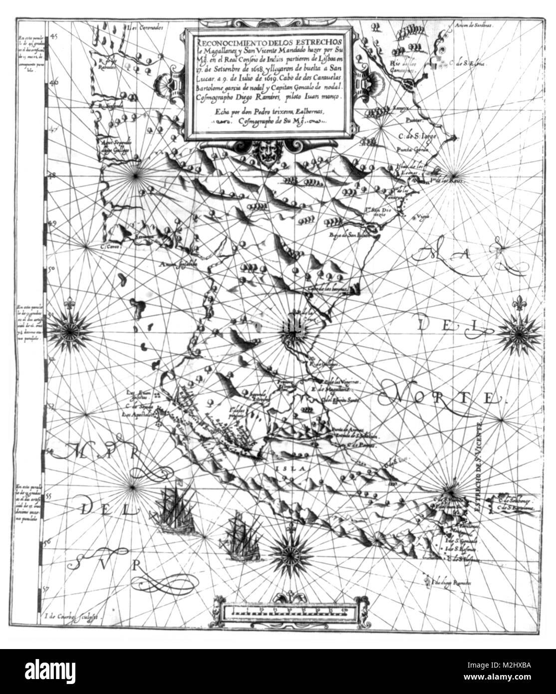La carte du détroit de Magellan, 1621 Photo Stock