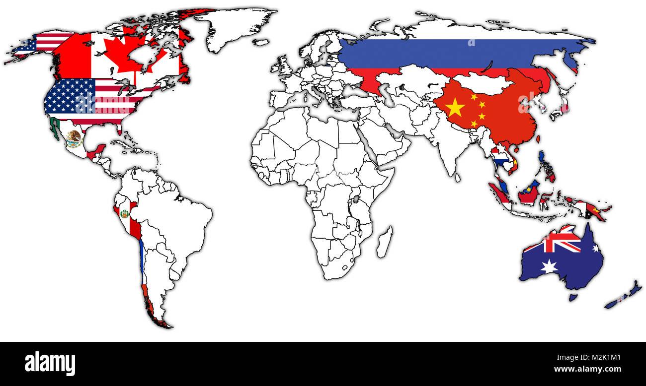 Carte Geographique Asie Pacifique.Les Pays Membres De La Cooperation Economique Asie Pacifique Les