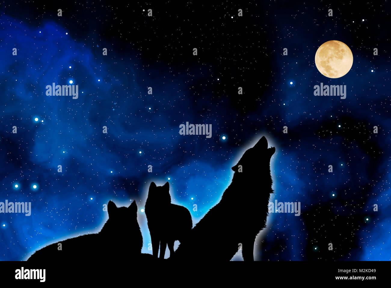 Meute De Loups Hurlant à La Lune Banque Dimages Photo