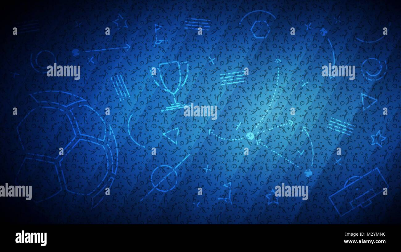 Vector illustration of abstract blue background soccer avec différentes icônes et les joueurs de football tendance
