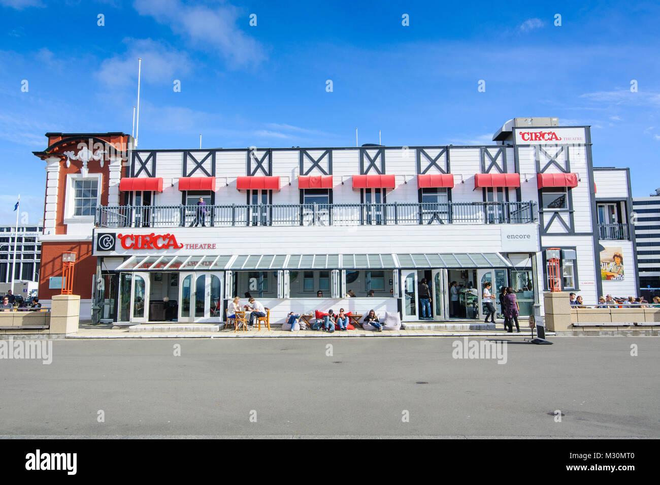 Restaurants autour du port de Lambton, Wellington, Île du Nord, Nouvelle-Zélande Banque D'Images