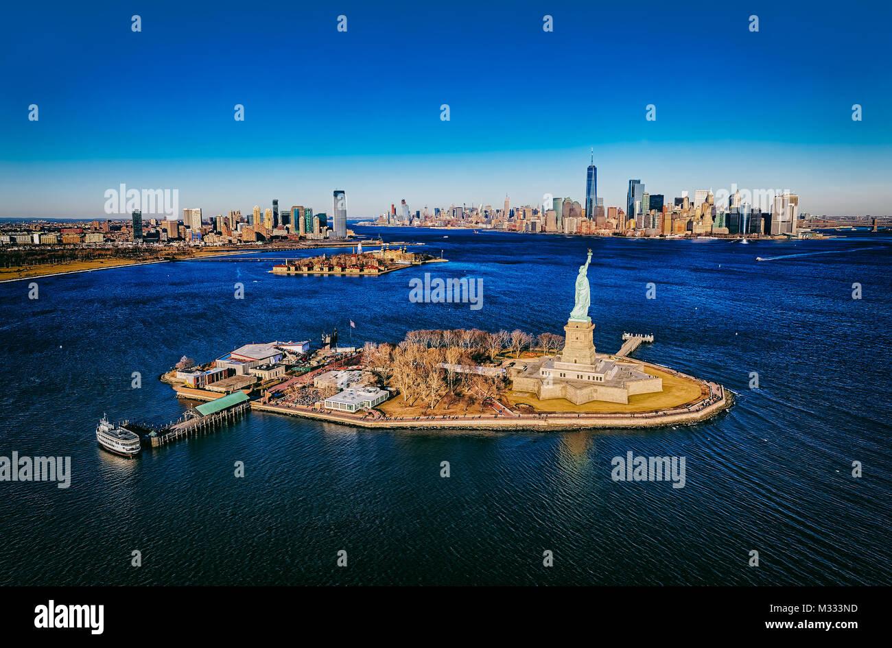 New York Statue de la liberté aerial Banque D'Images