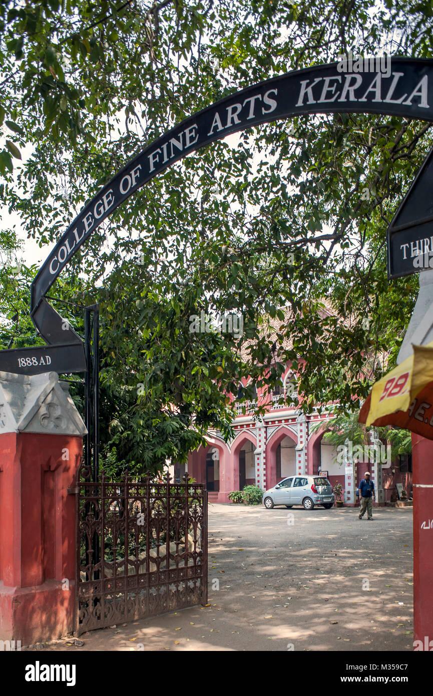 La faculté des beaux-arts, Trivandrum, Kerala, Inde, Asie Photo Stock
