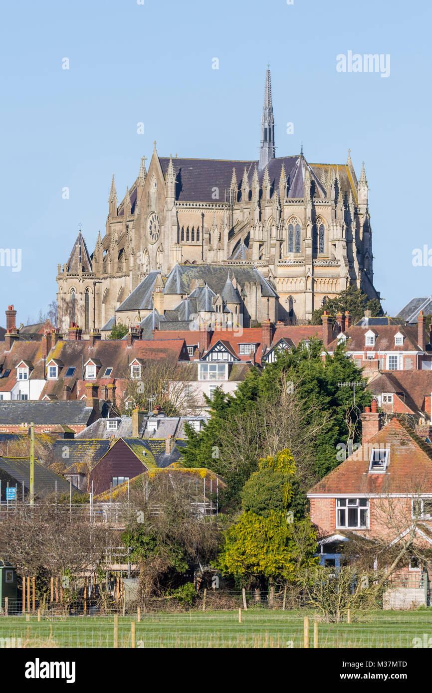 Arundel cathédrale, une cathédrale catholique romaine avec l'architecture néo-gothique de style Photo Stock