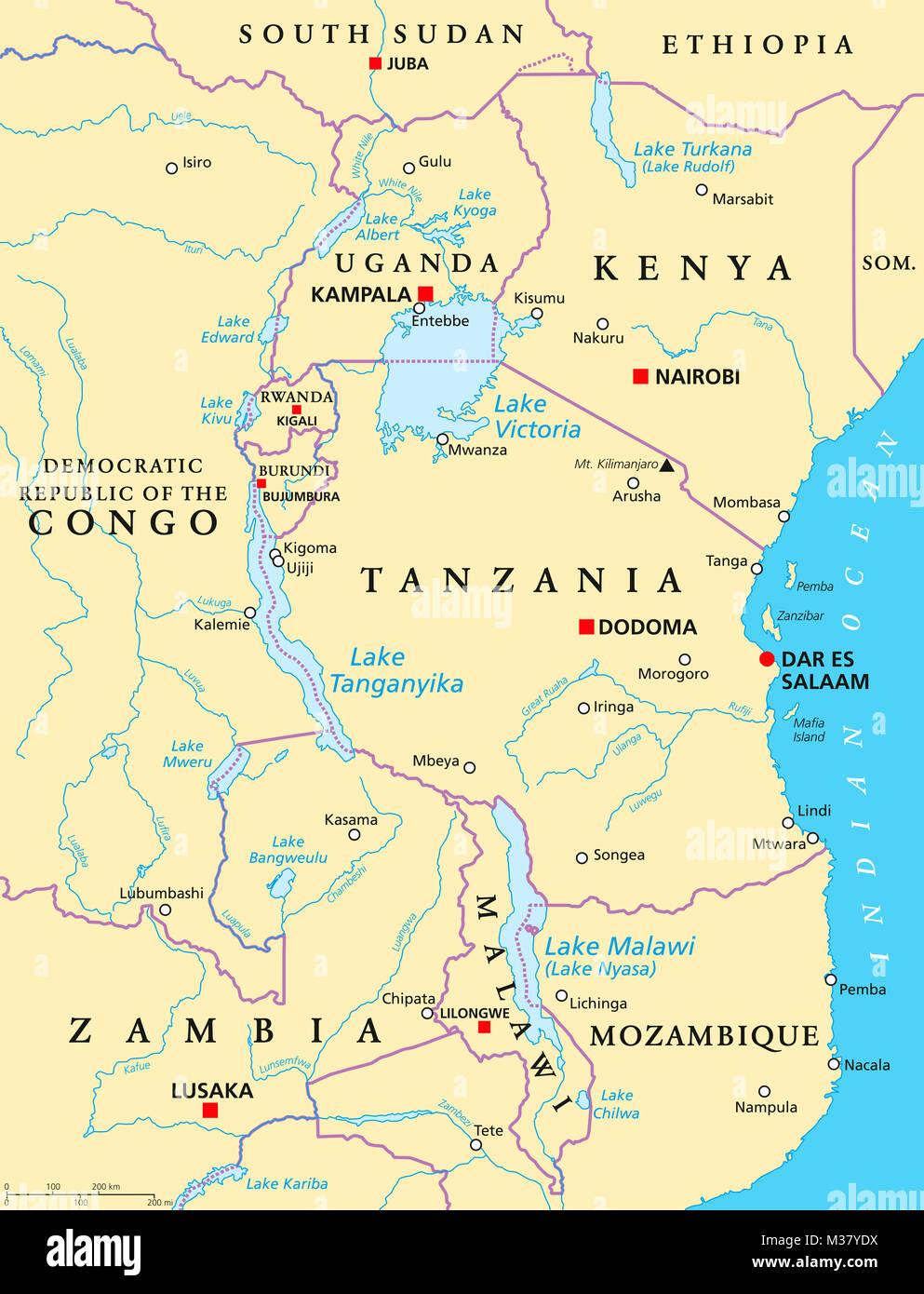 Afrique Des Grands Lacs Carte Politique Avec Les Capitales