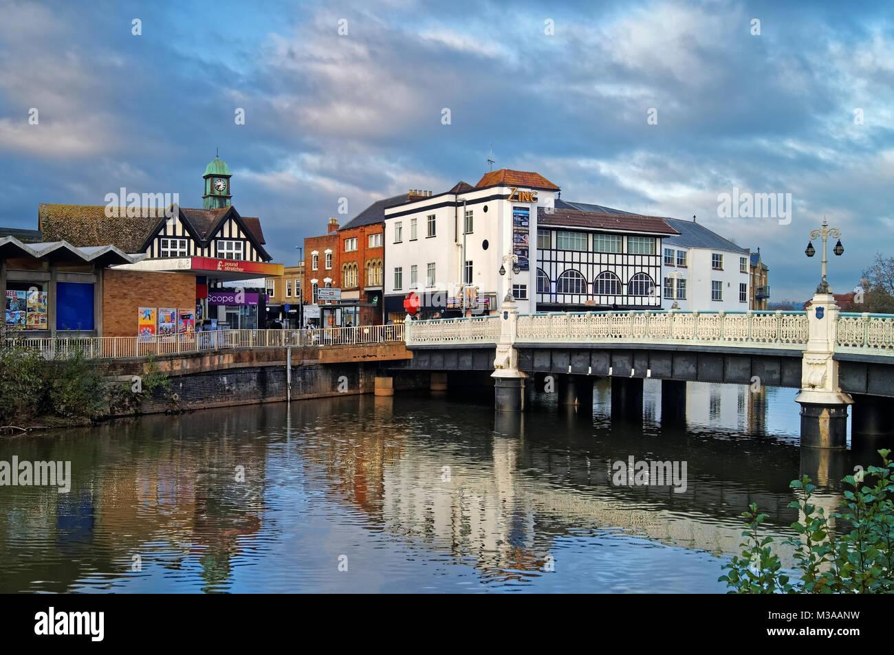 UK,Taunton Somerset,Pont,traversant la rivière Tone Photo Stock
