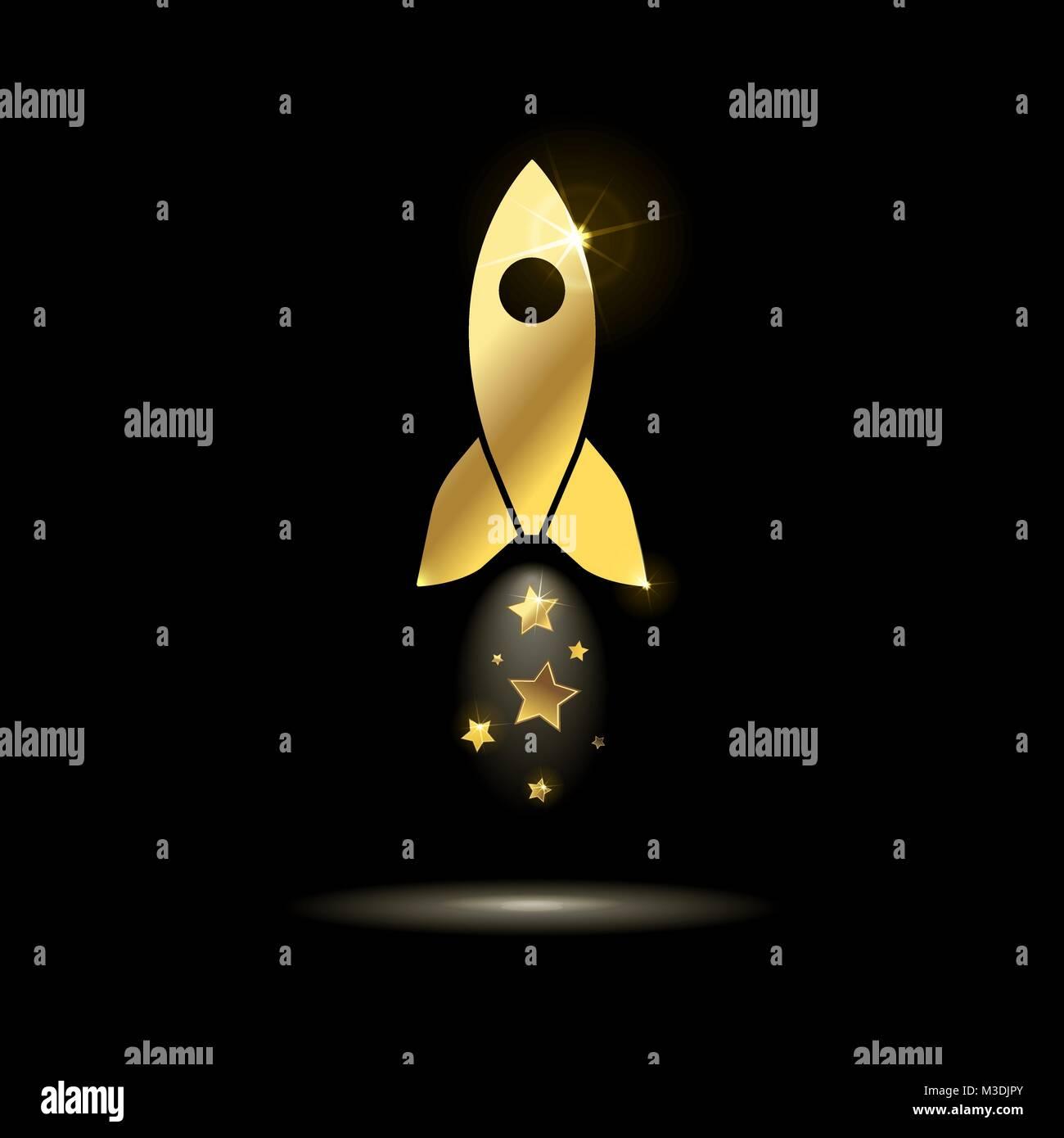 Or l'icône fusée spatiale avec des étoiles sur un fond noir Photo Stock