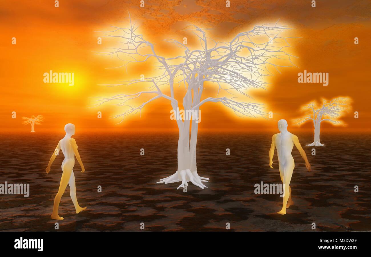 Adam & Eve ou le ciel Photo Stock