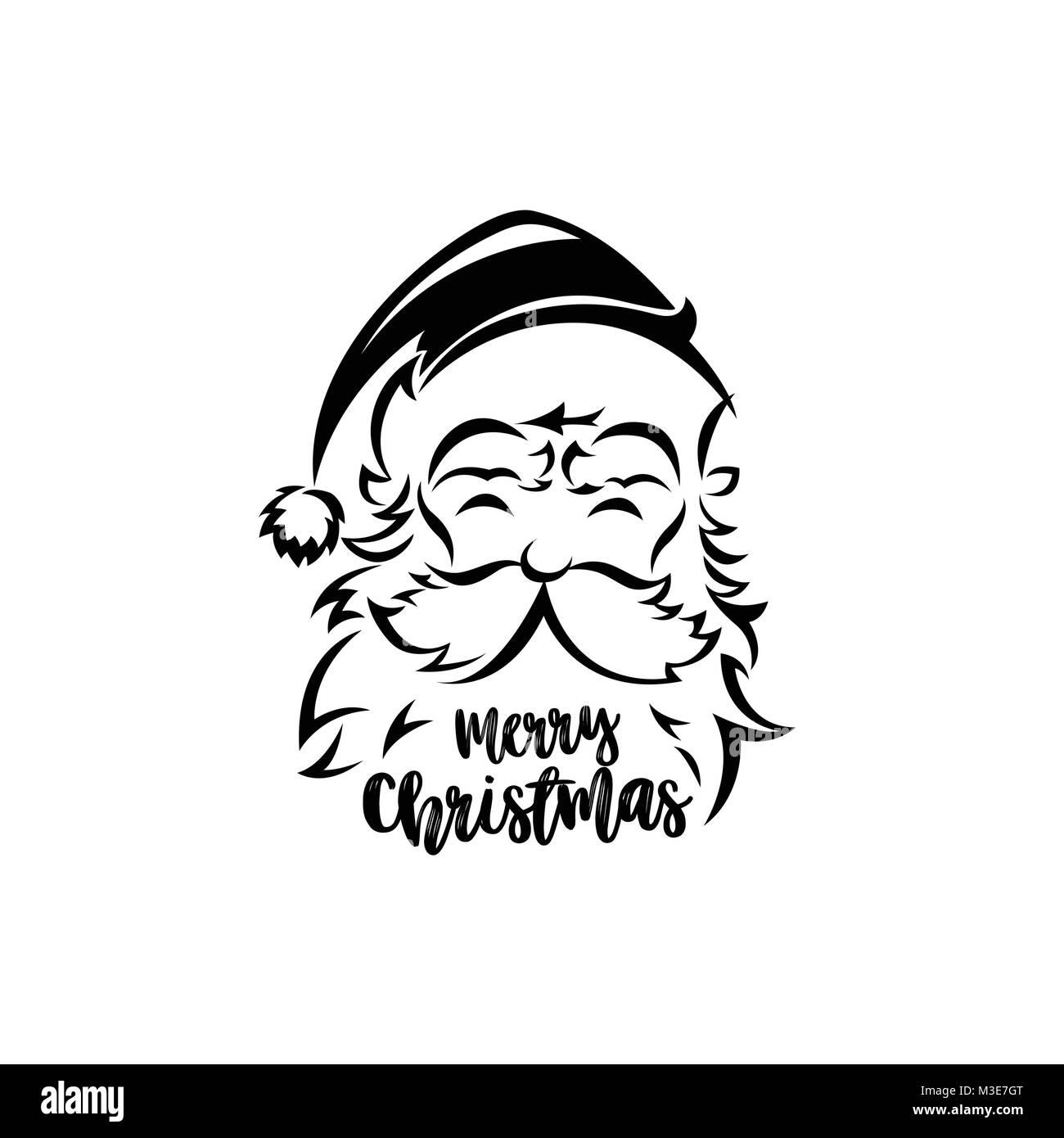 Le Père Noël Noir Et Blanc Vector Illustration Vecteurs Et