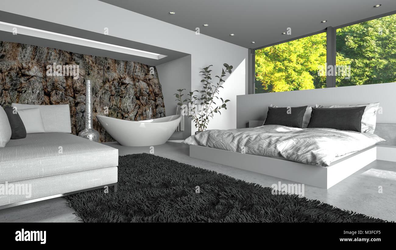 Salon/chambre à coucher de luxe moderne au décor blanc frais ...