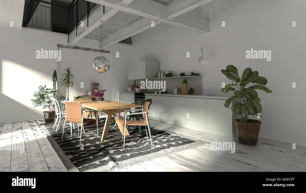 L\'intérieur moderne salle à manger rustique avec poutres en ...