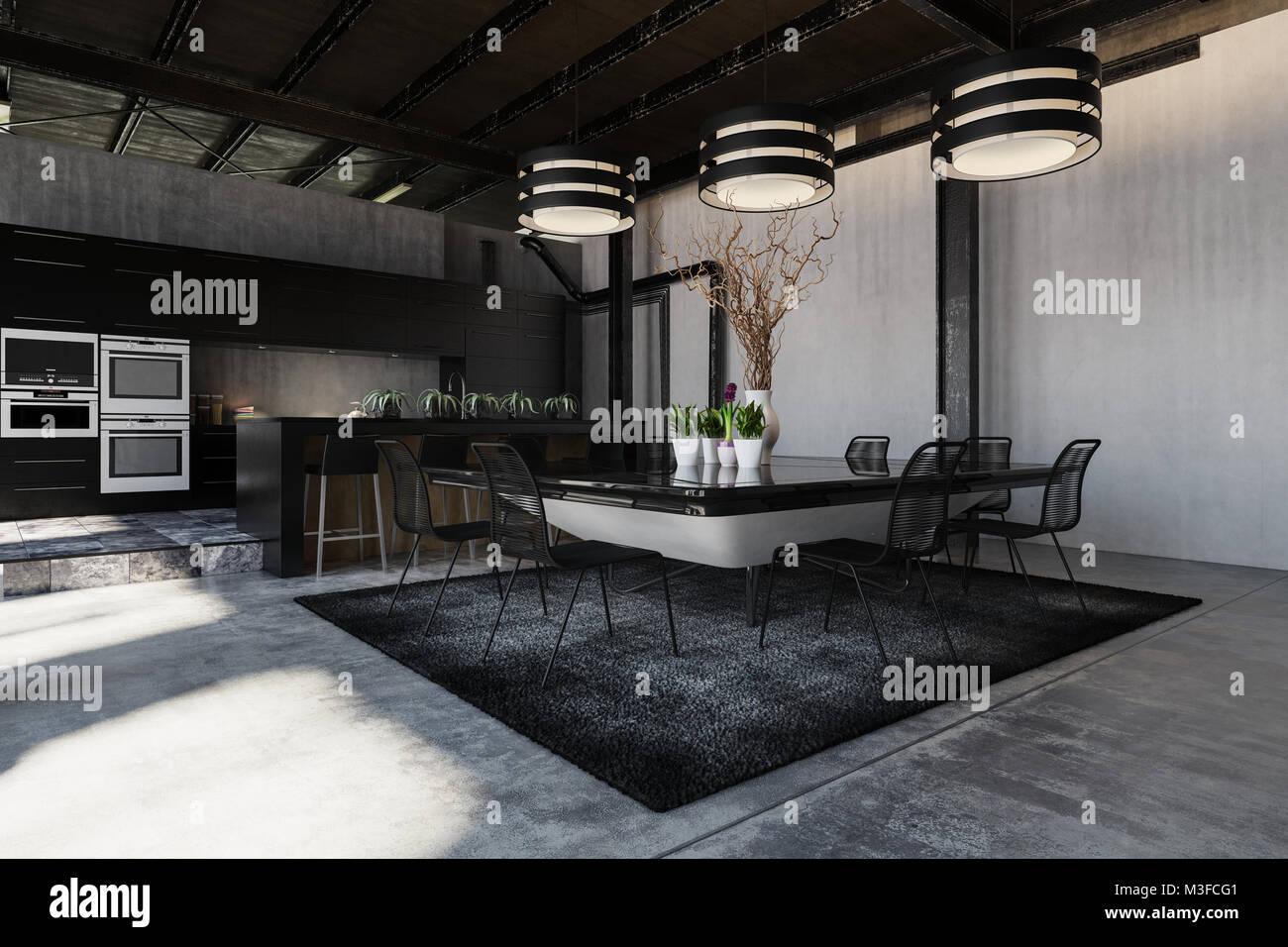 Loft industriel design moderne noir intérieur de conversion d une
