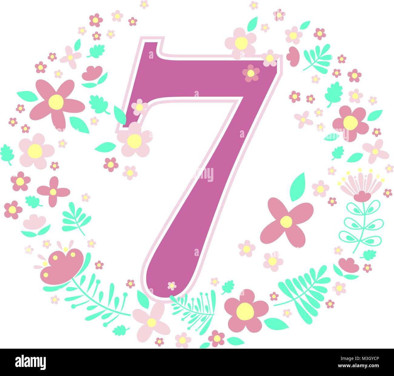 Numéro 7 Avec Des Fleurs Décoratives Et Des éléments De Conception