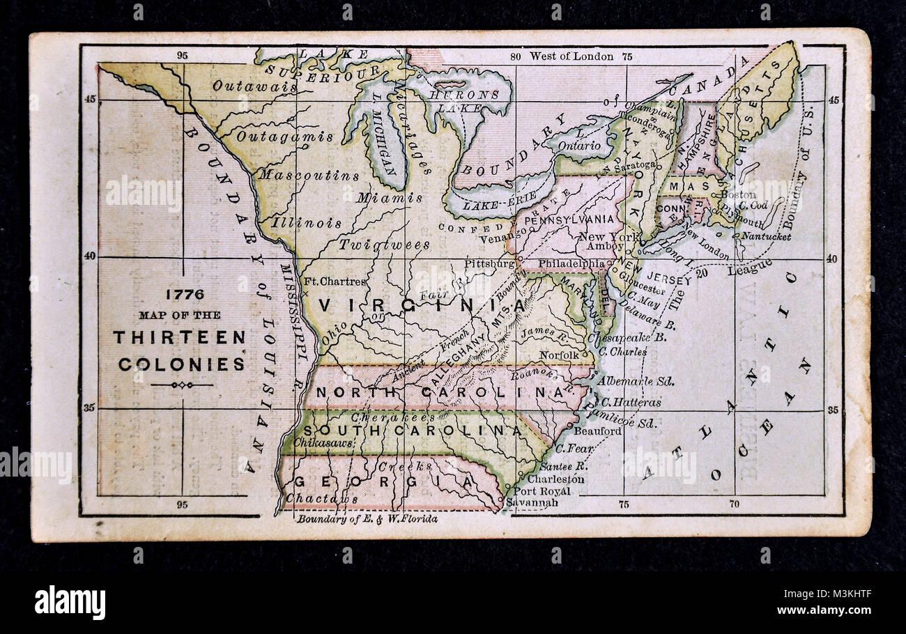 1882 - Carte Atlas Bradstreet United States 13 colonies 1776 Photo Stock